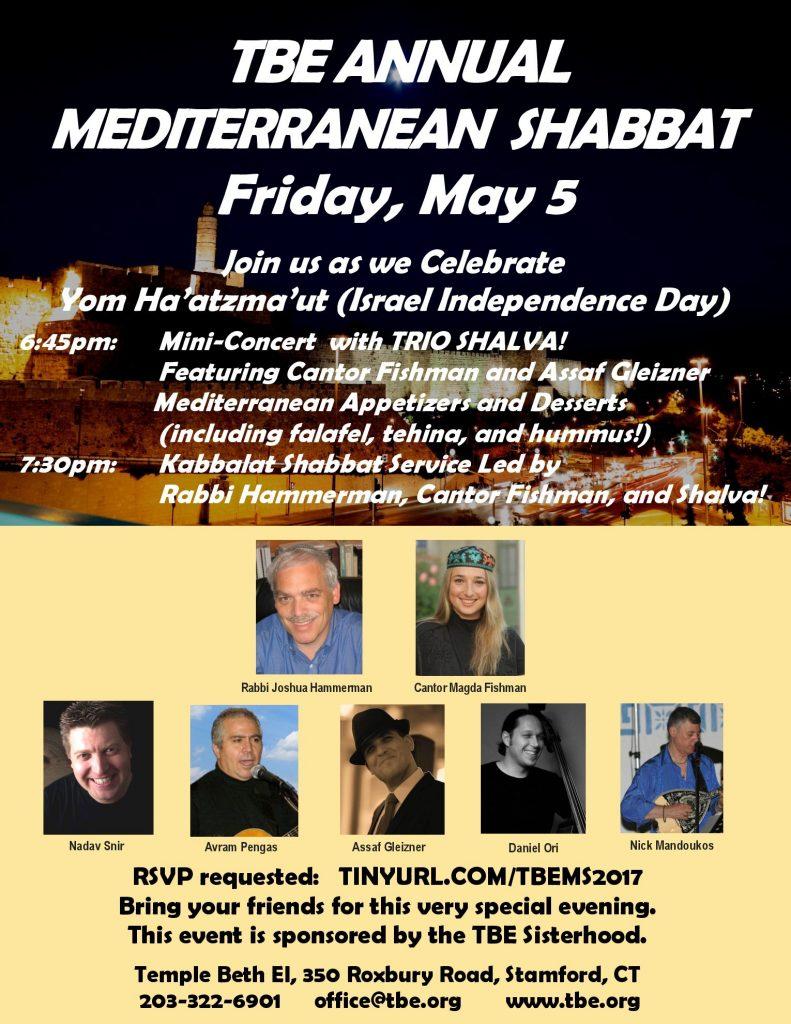 Mediterranean Shabbat @ Temple Beth El   Stamford   Connecticut   United States