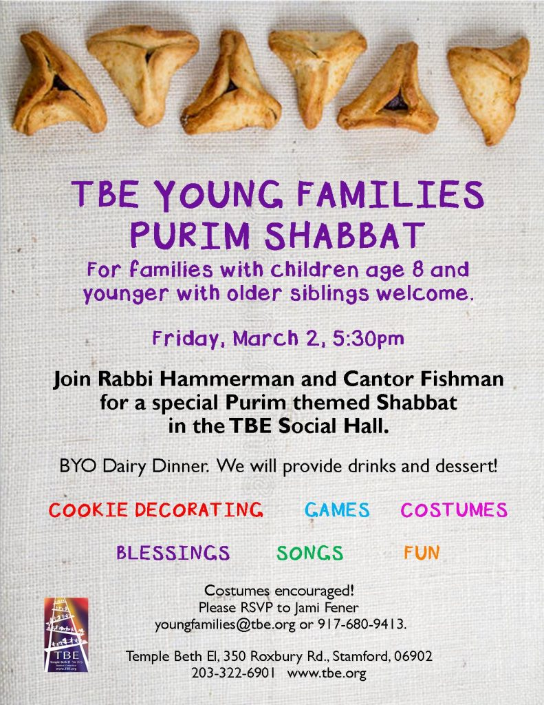 Young Families Purim Shabbat @ Temple Beth El   Stamford   Connecticut   United States