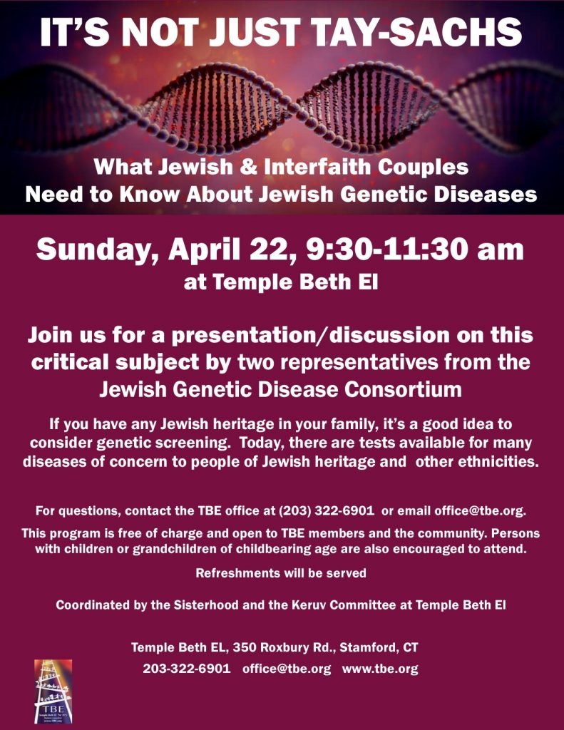 Presentation: Jewish Genetic Diseases @ Temple Beth El | Stamford | Connecticut | United States