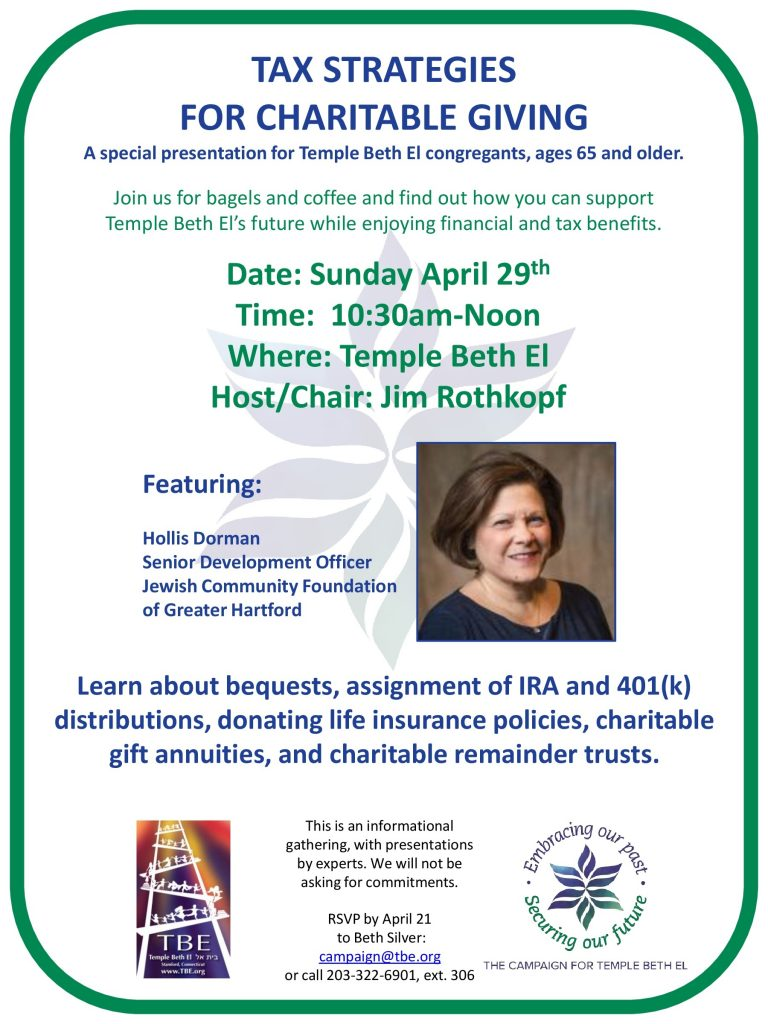 Tax Strategies for Charitable Giving @ Temple Beth El | Stamford | Connecticut | United States