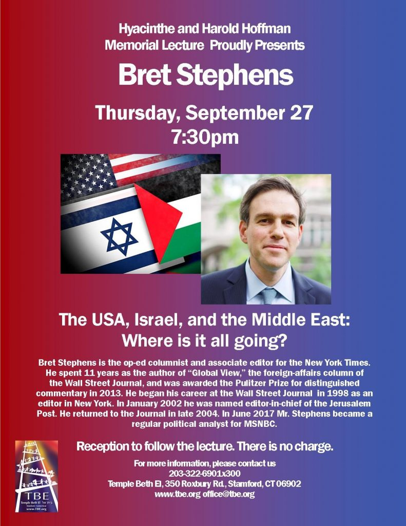 Hyacinthe & Harold Hoffman Memorial Lecture @ Temple Beth El   Stamford   Connecticut   United States