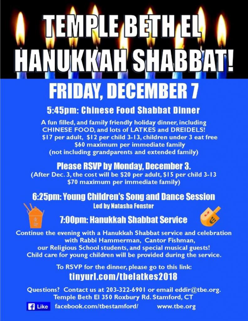 Hanukkah Shabbat @ Temple Beth El   Stamford   Connecticut   United States