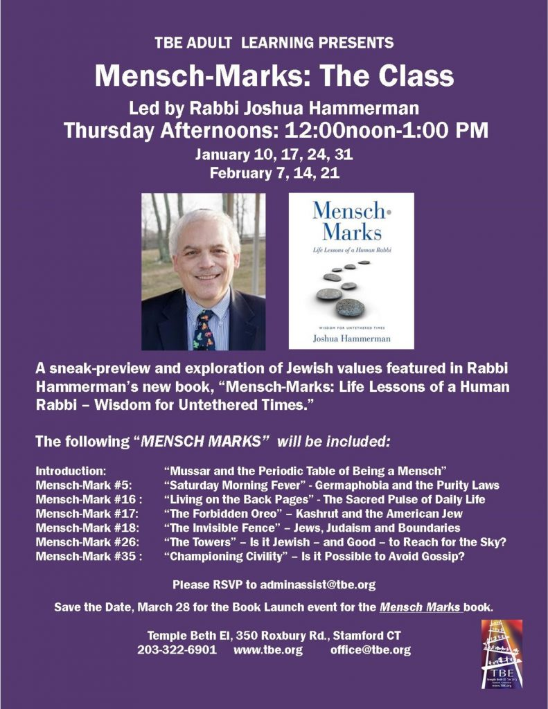 Mensch-Marks: The Class @ Temple Beth El