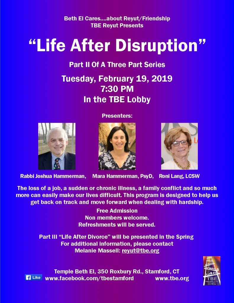 Reyut: Life after Disruption @ Temple Beth El