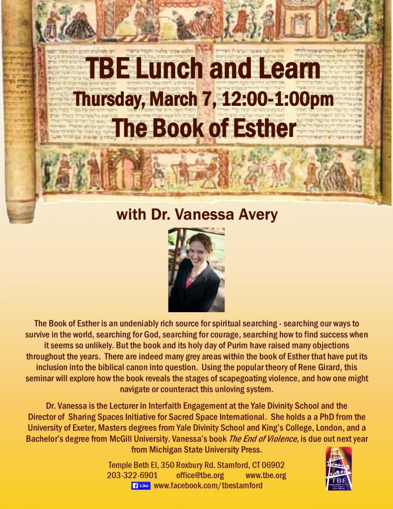Lunch 'n Learn: Book of Esther @ Temple Beth El