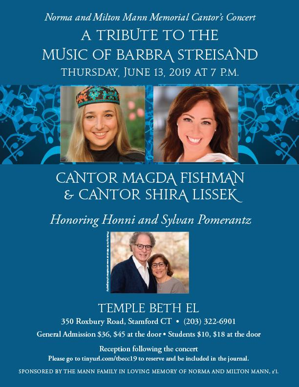 Cantor's Concert @ Temple Beth El | Stamford | Connecticut | United States