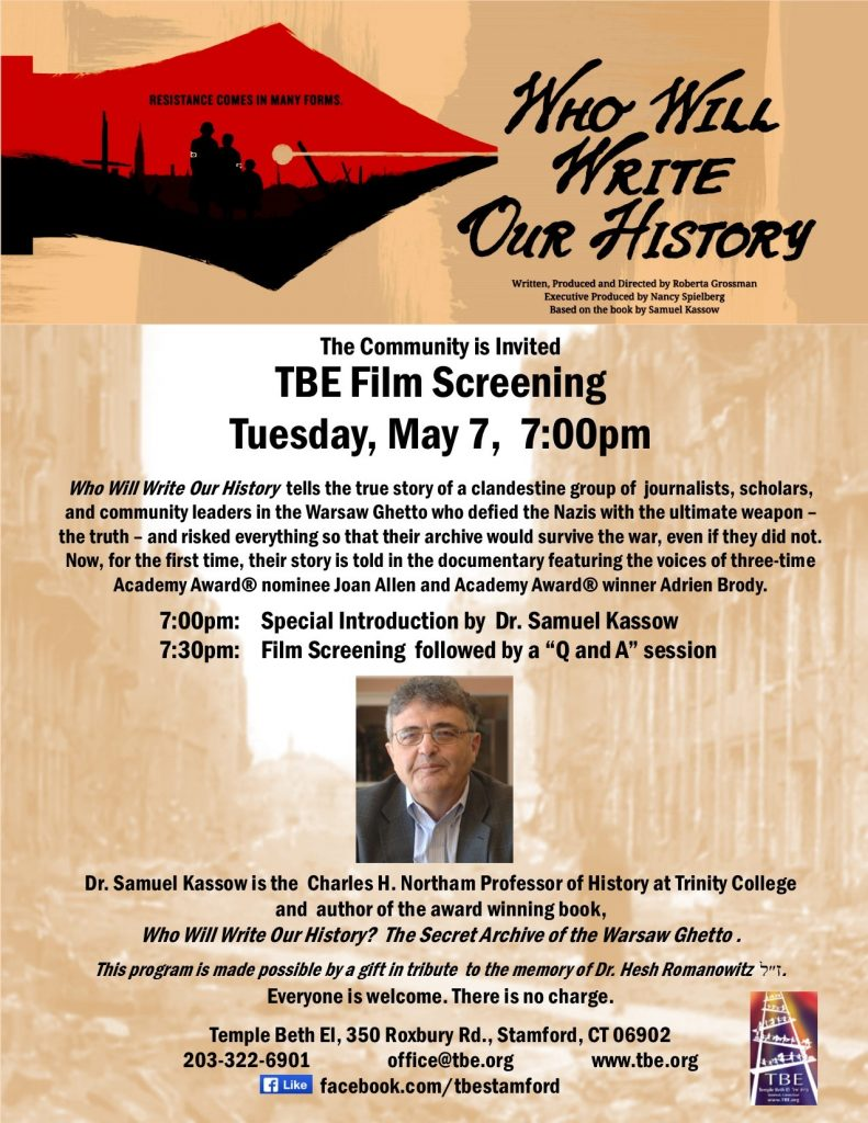 Film: Who Will Write Our History @ Temple Beth El