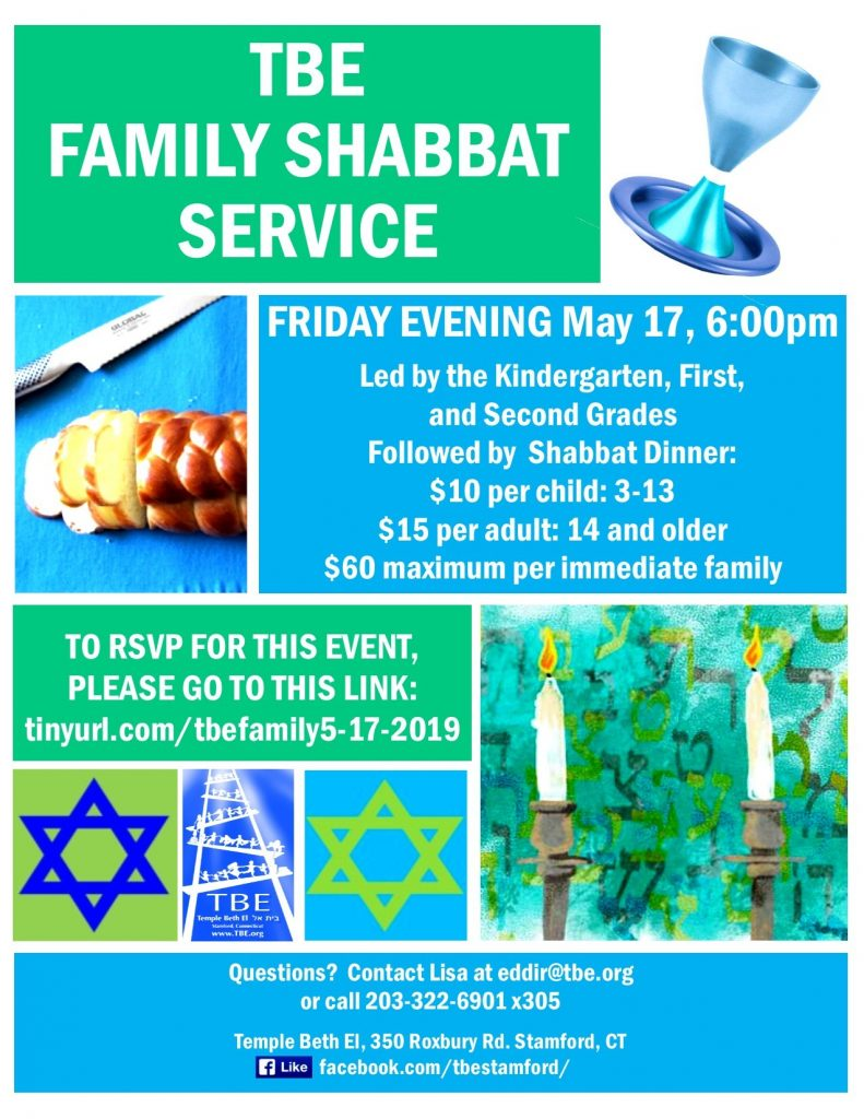 K-to-2 Family Shabbat @ Temple Beth El | Stamford | Connecticut | United States