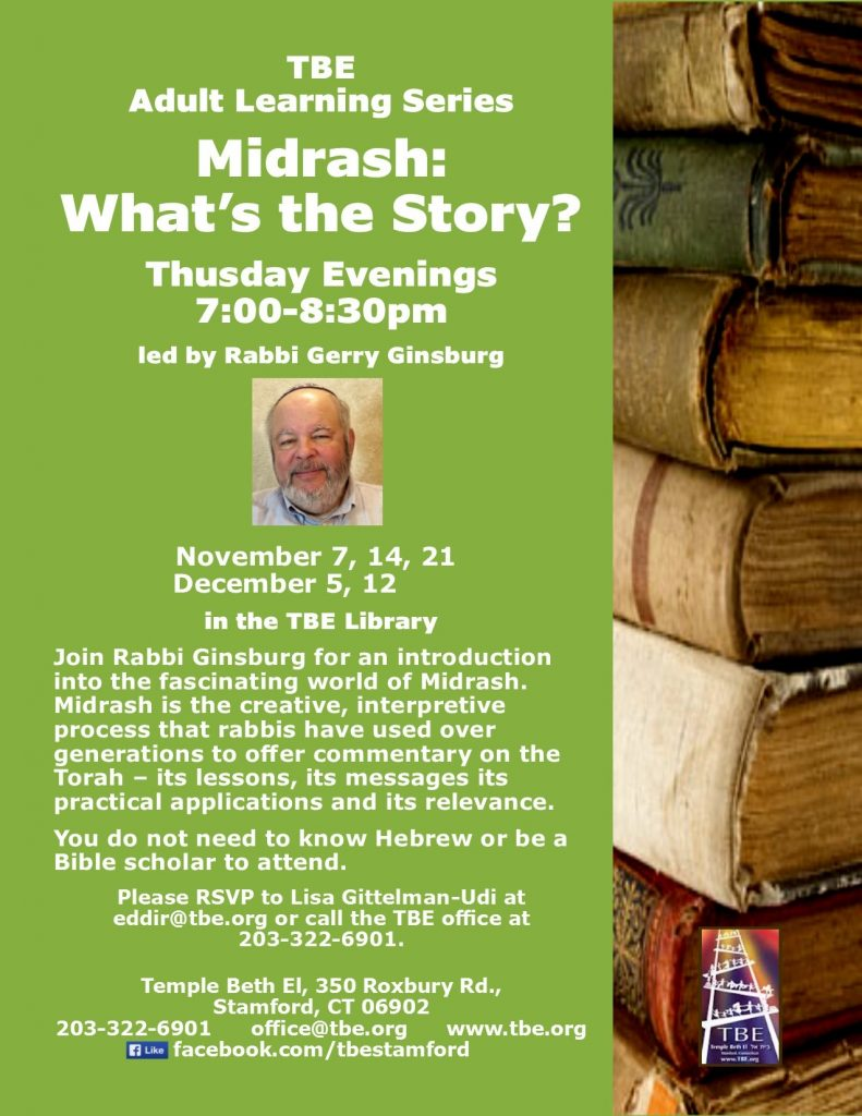 Midrash with Rabbi Gerry @ TBE Library | Stamford | Connecticut | United States