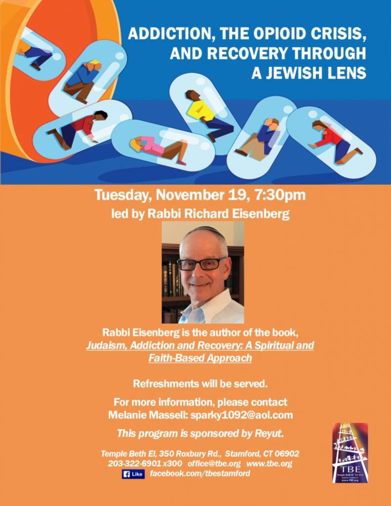 Reyut: Judaism, Addiction and Recovery @ Temple Beth El | Stamford | Connecticut | United States