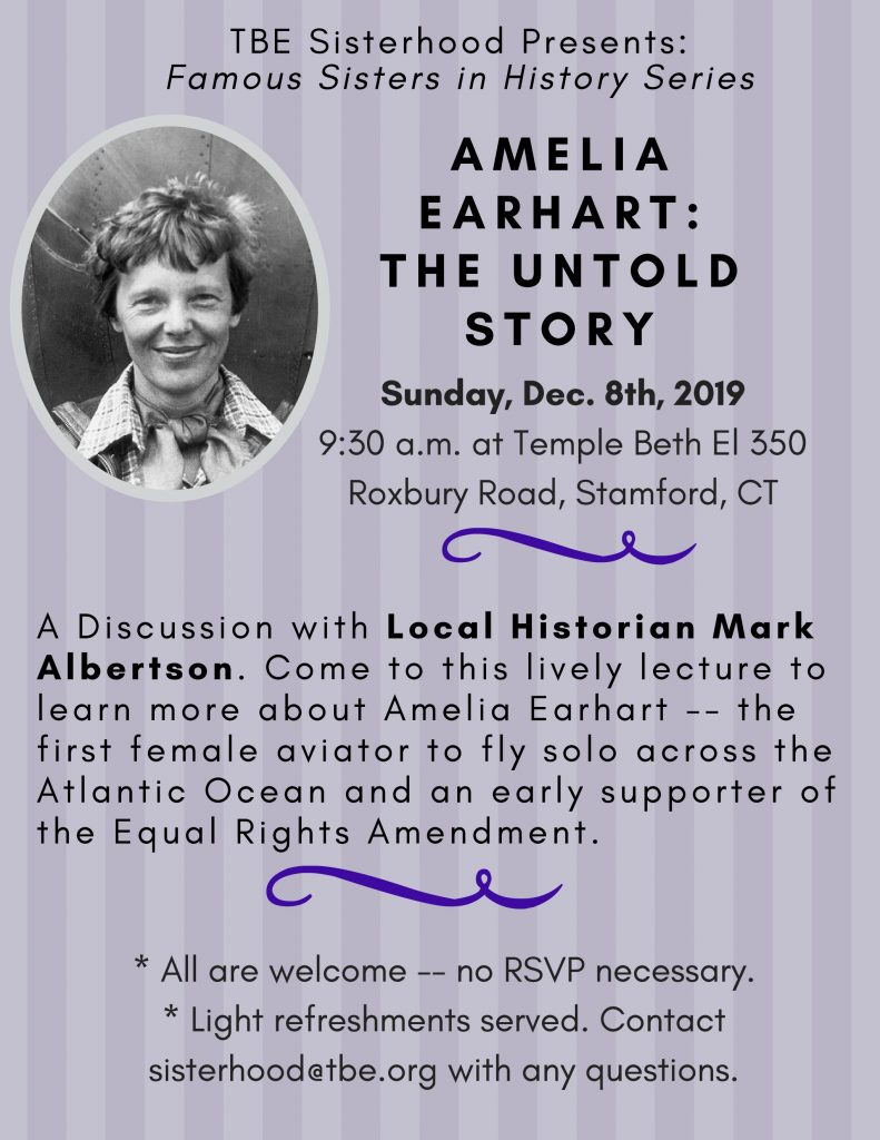 Amelia Earhart: The Untold Story @ Temple Beth El | Stamford | Connecticut | United States
