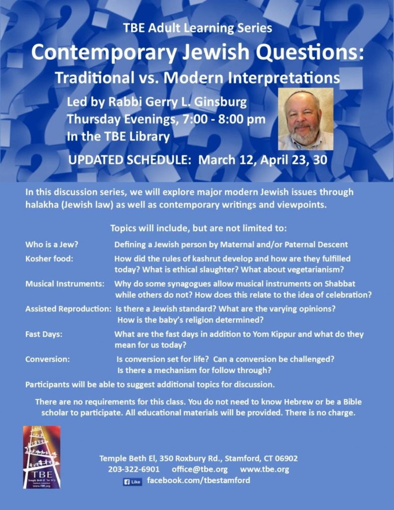 Adult Learning: Contemporary Jewish Questions @ Temple Beth El | Stamford | Connecticut | United States