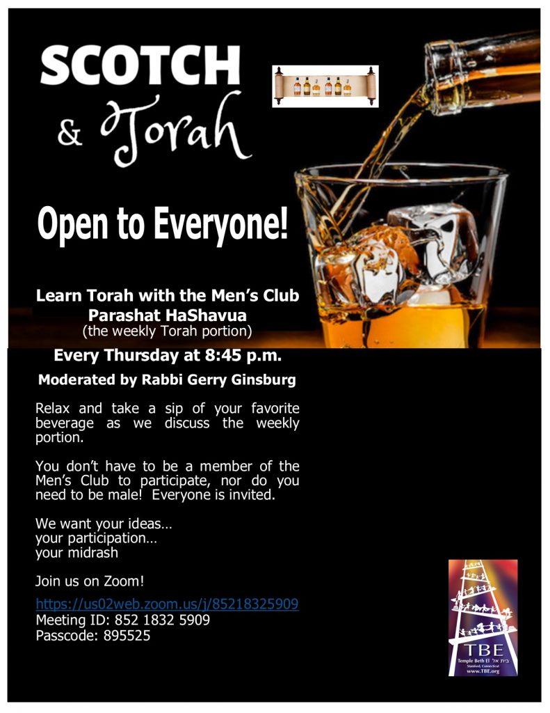 Scotch & Torah @ via Zoom