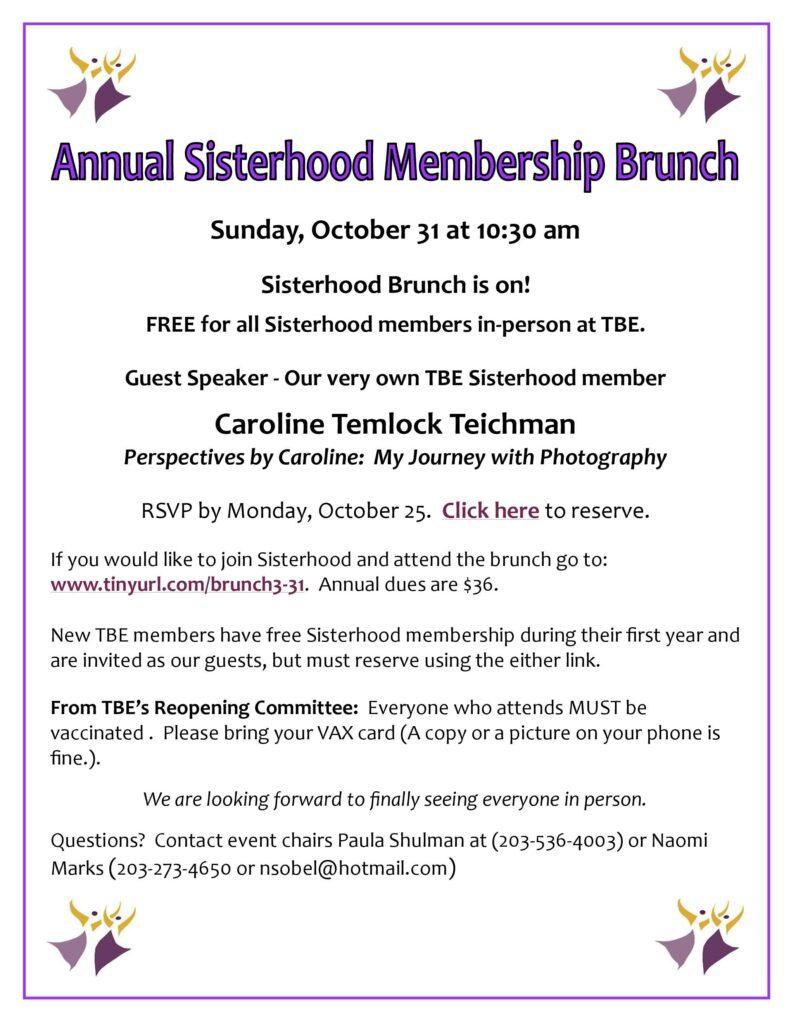 Sisterhood Membership Brunch @ Temple Beth El